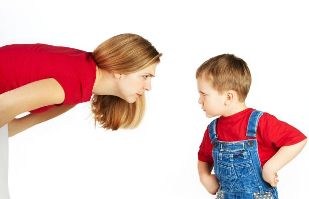 Angry mom and boy